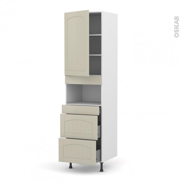 SILEN Argile - Colonne MO niche 36/38 N°2457  - 1 porte 3 tiroirs - L60xH217xP58 - gauche