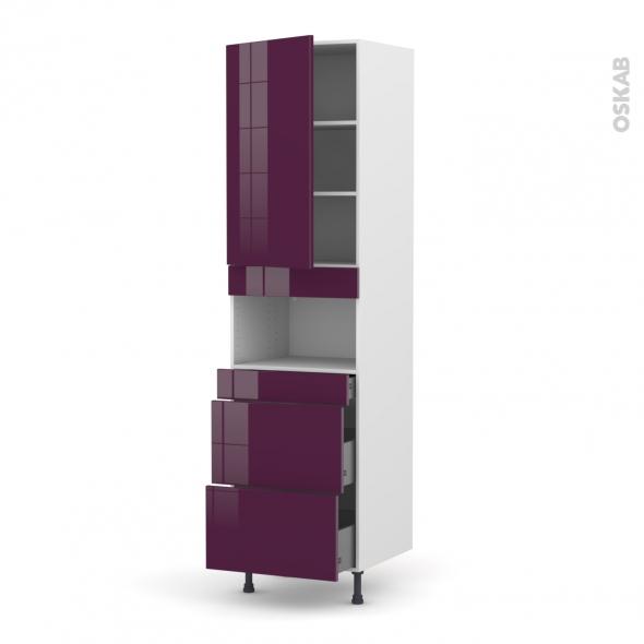 KERIA Aubergine - Colonne MO niche 36/38 N°2457  - 1 porte 3 tiroirs - L60xH217xP58