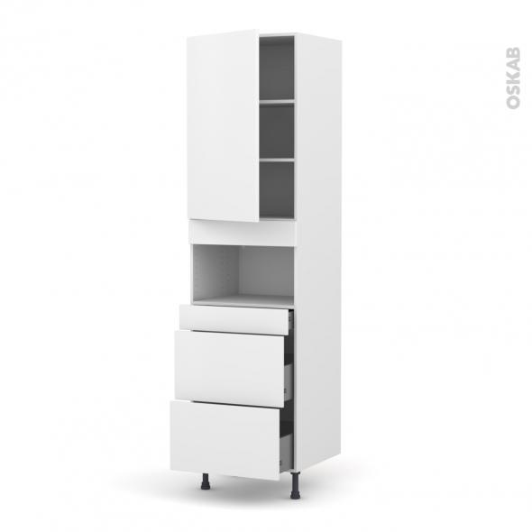 Colonne de cuisine N°2457 - MO encastrable niche 36/38 - GINKO Blanc - 1 porte 3 tiroirs - L60 x H217 x P58 cm