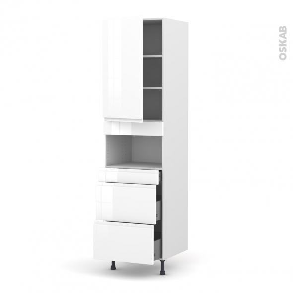 Colonne de cuisine N°2457 - MO encastrable niche 36/38 - IPOMA Blanc - 1 porte 3 tiroirs - L60 x H217 x P58 cm
