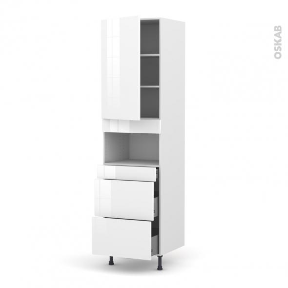 Colonne de cuisine N°2457 - MO encastrable niche 36/38 - STECIA Blanc - 1 porte 3 tiroirs - L60 x H217 x P58 cm