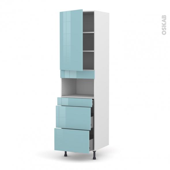 KERIA Bleu - Colonne MO niche 36/38 N°2457  - 1 porte 3 tiroirs - L60xH217xP58