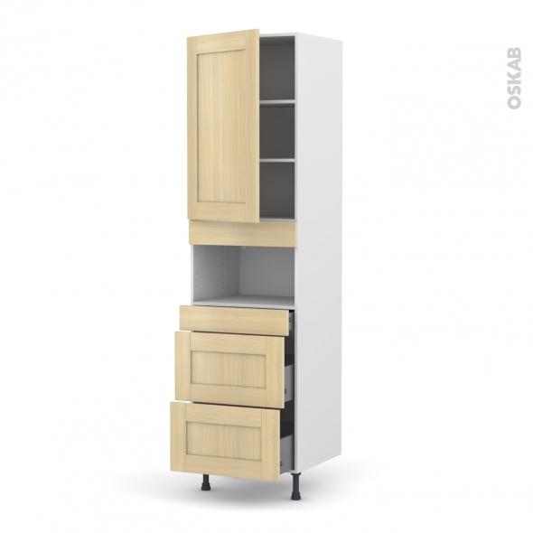 BASILIT Bois Vernis - Colonne MO niche 36/38 N°2457  - 1 porte 3 tiroirs - L60xH217xP58