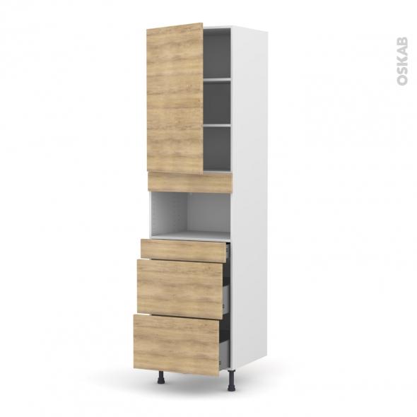 Colonne de cuisine N°2457 - MO encastrable niche 36/38 - HOSTA Chêne naturel - 1 porte 3 tiroirs - L60 x H217 x P58 cm