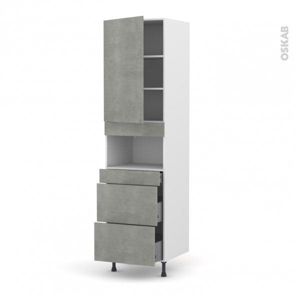 Colonne de cuisine N°2457 - MO encastrable niche 36/38 - FAKTO Béton - 1 porte 3 tiroirs - L60 x H217 x P58 cm