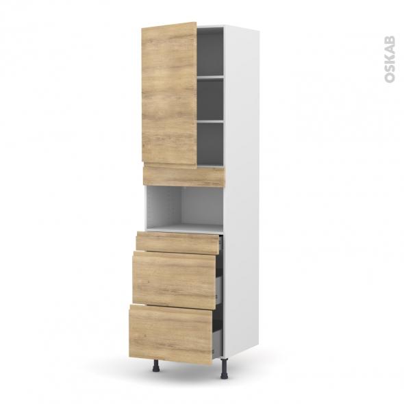 Colonne de cuisine N°2457 - MO encastrable niche 36/38 - IPOMA Chêne naturel - 1 porte 3 tiroirs - L60 x H217 x P58 cm