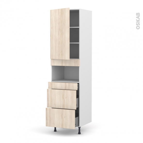 Colonne de cuisine N°2457 - MO encastrable niche 36/38 - IKORO Chêne clair - 1 porte 3 tiroirs - L60 x H217 x P58 cm