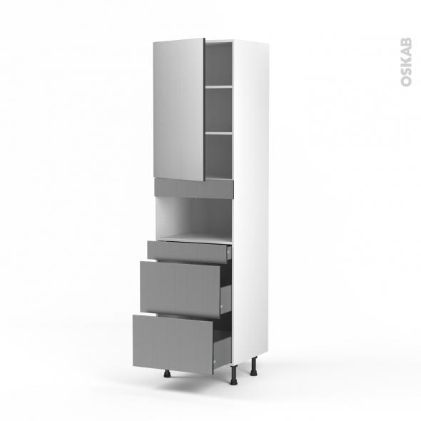 STILO Inox - Colonne MO niche 36/38 N°2457  - 1 porte 3 tiroirs - L60xH217xP58