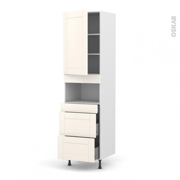 Colonne de cuisine N°2457 - MO encastrable niche 36/38 - FILIPEN Ivoire - 1 porte 3 tiroirs - L60 x H217 x P58 cm