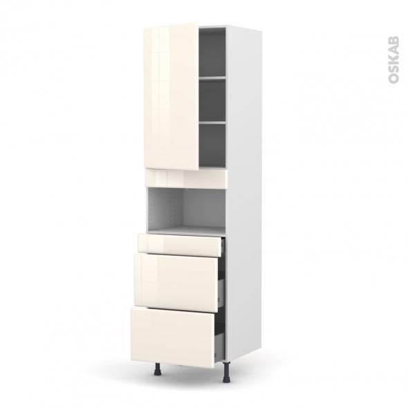 IRIS Ivoire - Colonne MO niche 36/38 N°2457  - 1 porte 3 tiroirs - L60xH217xP58