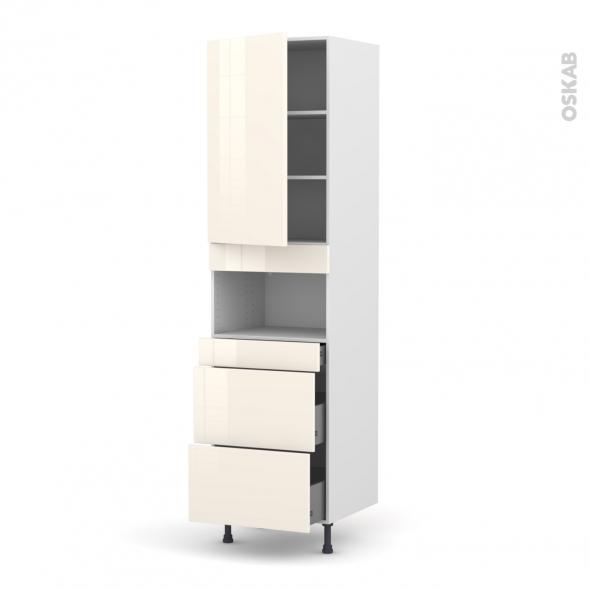 Colonne de cuisine N°2457 - MO encastrable niche 36/38 - KERIA Ivoire - 1 porte 3 tiroirs - L60 x H217 x P58 cm