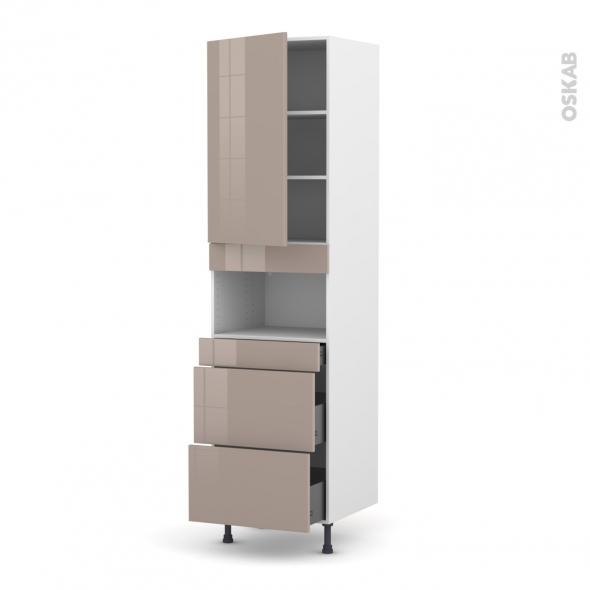 Colonne de cuisine N°2457 - MO encastrable niche 36/38 - KERIA Moka - 1 porte 3 tiroirs - L60 x H217 x P58 cm