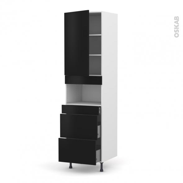 Colonne de cuisine N°2457 - MO encastrable niche 36/38 - GINKO Noir - 1 porte 3 tiroirs - L60 x H217 x P58 cm