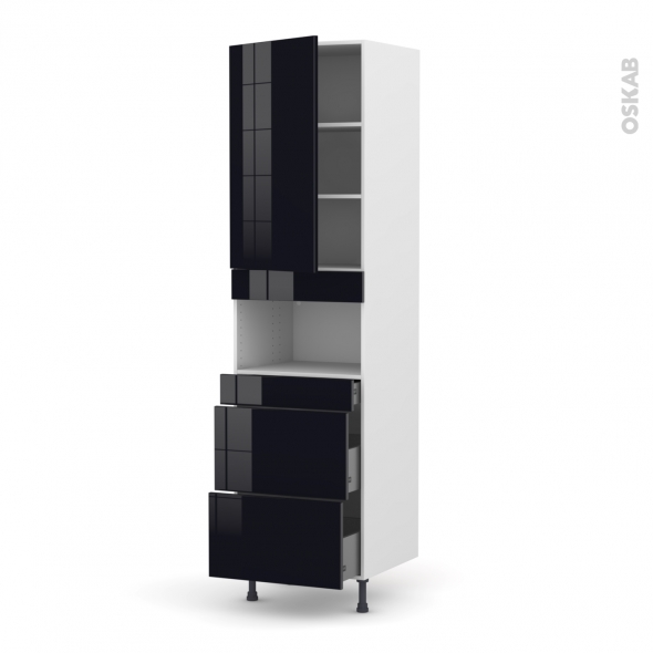 Colonne de cuisine N°2457 - MO encastrable niche 36/38 - KERIA Noir - 1 porte 3 tiroirs - L60 x H217 x P58 cm