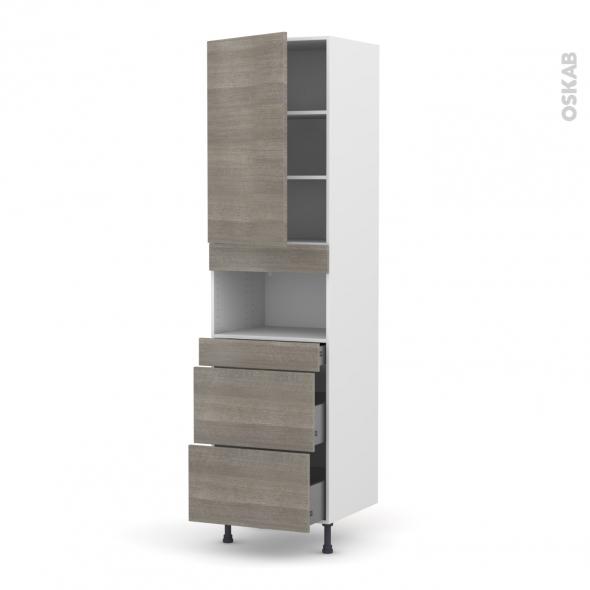 Colonne de cuisine N°2457 - MO encastrable niche 36/38 - STILO Noyer Naturel - 1 porte 3 tiroirs - L60 x H217 x P58 cm