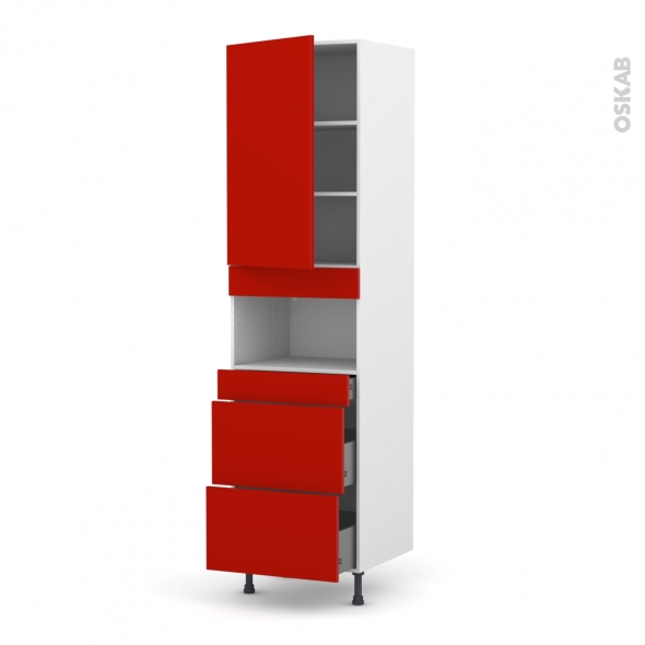 GINKO Rouge - Colonne MO niche 36/38 N°2457  - 1 porte 3 tiroirs - L60xH217xP58