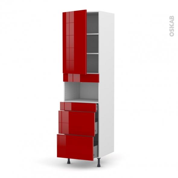 Colonne de cuisine N°2457 - MO encastrable niche 36/38 - STECIA Rouge - 1 porte 3 tiroirs - L60 x H217 x P58 cm
