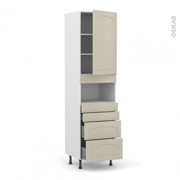 SILEN Argile - Colonne MO niche 36/38 N°2458  - 1 porte 4 tiroirs - L60xH217xP58 - droite
