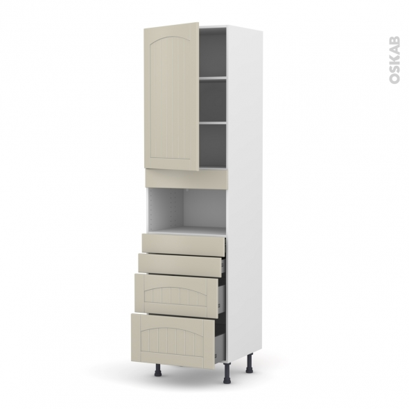 SILEN Argile - Colonne MO niche 36/38 N°2458  - 1 porte 4 tiroirs - L60xH217xP58 - gauche