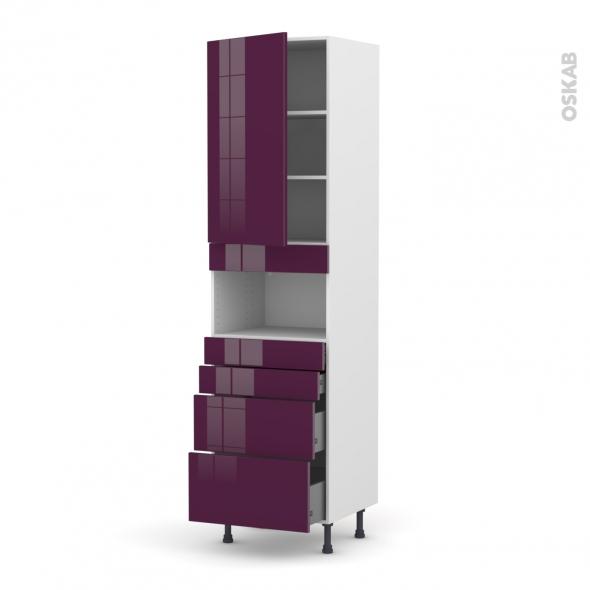 KERIA Aubergine - Colonne MO niche 36/38 N°2458  - 1 porte 4 tiroirs - L60xH217xP58