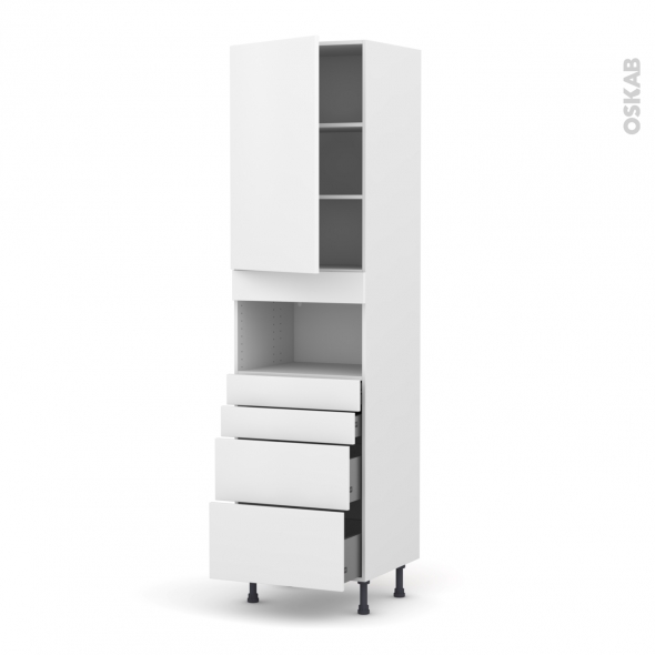 GINKO Blanc - Colonne MO niche 36/38 N°2458  - 1 porte 4 tiroirs - L60xH217xP58
