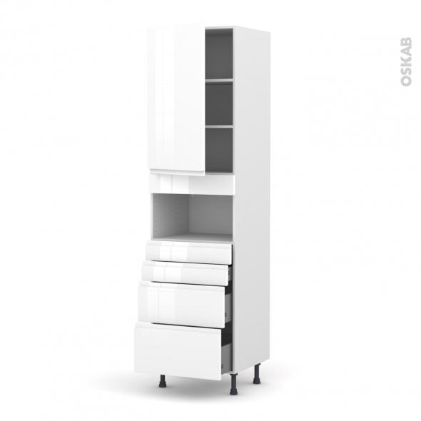 IPOMA Blanc - Colonne MO niche 36/38 N°2458  - 1 porte 4 tiroirs - L60xH217xP58