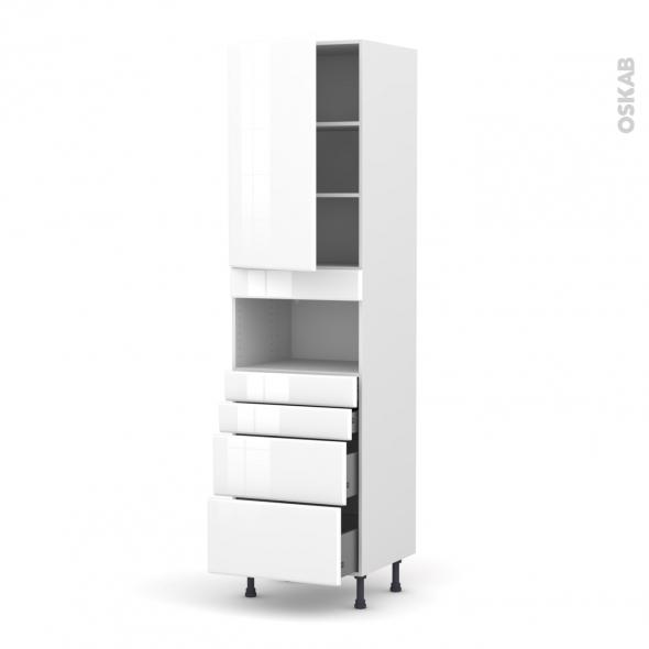 Colonne de cuisine N°2458 - MO encastrable niche 36/38 - IRIS Blanc - 1 porte 4 tiroirs - L60 x H217 x P58 cm