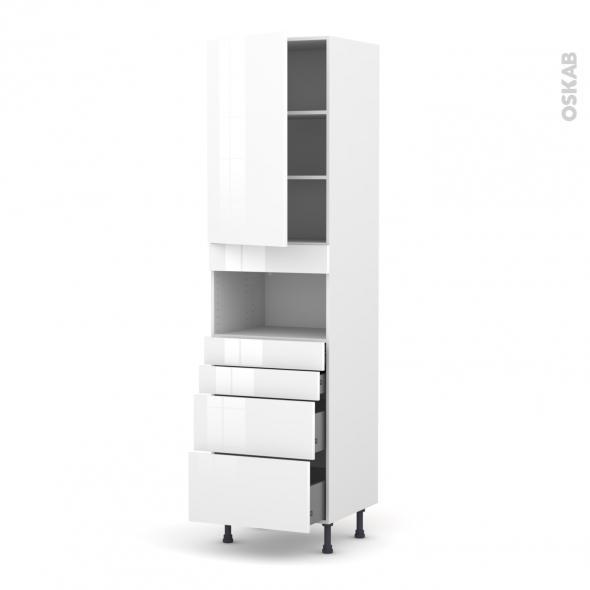 Colonne de cuisine N°2458 - MO encastrable niche 36/38 - STECIA Blanc - 1 porte 4 tiroirs - L60 x H217 x P58 cm
