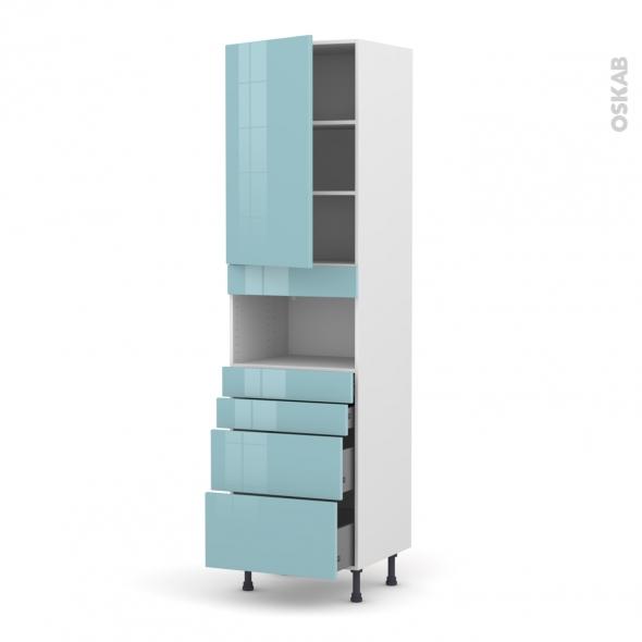 KERIA Bleu - Colonne MO niche 36/38 N°2458  - 1 porte 4 tiroirs - L60xH217xP58