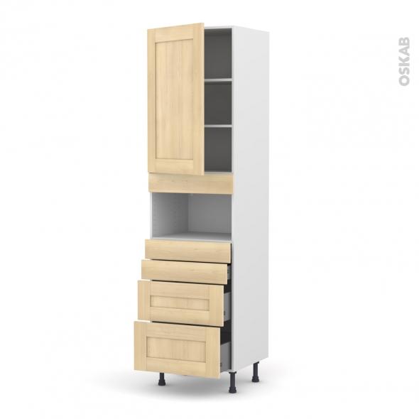 BETULA Bouleau - Colonne MO niche 36/38 N°2458  - 1 porte 4 tiroirs - L60xH217xP58