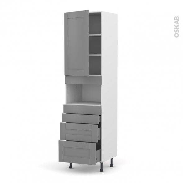 Colonne de cuisine N°2458 - MO encastrable niche 36/38 - FILIPEN Gris - 1 porte 4 tiroirs - L60 x H217 x P58 cm