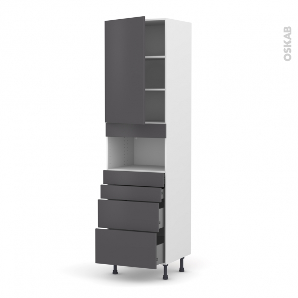 Colonne de cuisine N°2458 - MO encastrable niche 36/38 - GINKO Gris - 1 porte 4 tiroirs - L60 x H217 x P58 cm