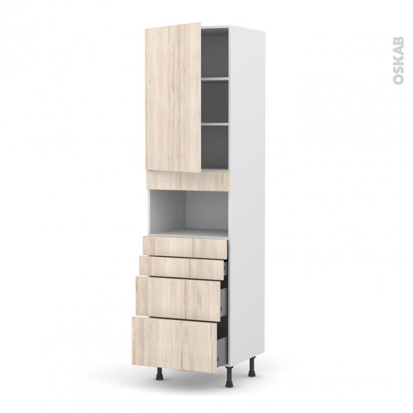 IKORO Chêne clair - Colonne MO niche 36/38 N°2458  - 1 porte 4 tiroirs - L60xH217xP58