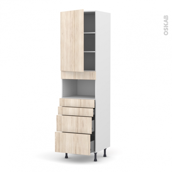 Colonne de cuisine N°2458 - MO encastrable niche 36/38 - IKORO Chêne clair - 1 porte 4 tiroirs - L60 x H217 x P58 cm