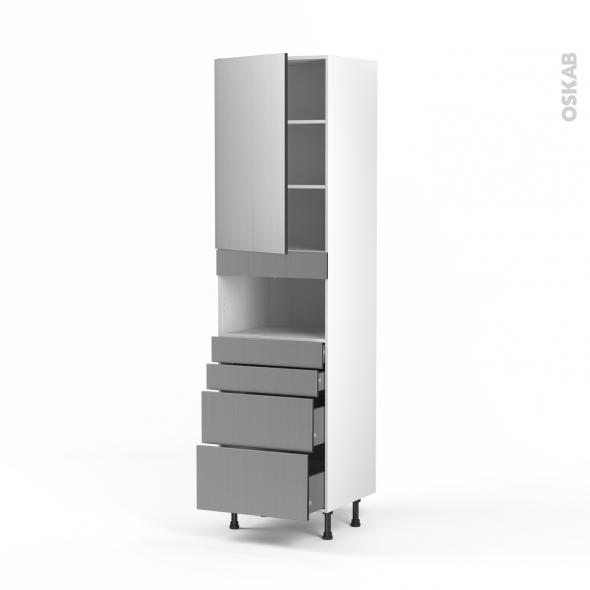 STILO Inox - Colonne MO niche 36/38 N°2458  - 1 porte 4 tiroirs - L60xH217xP58