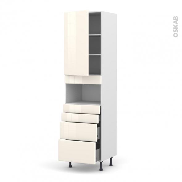 IRIS Ivoire - Colonne MO niche 36/38 N°2458  - 1 porte 4 tiroirs - L60xH217xP58