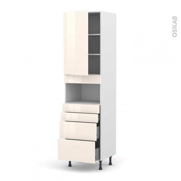 Colonne de cuisine N°2458 - MO encastrable niche 36/38 - KERIA Ivoire - 1 porte 4 tiroirs - L60 x H217 x P58 cm