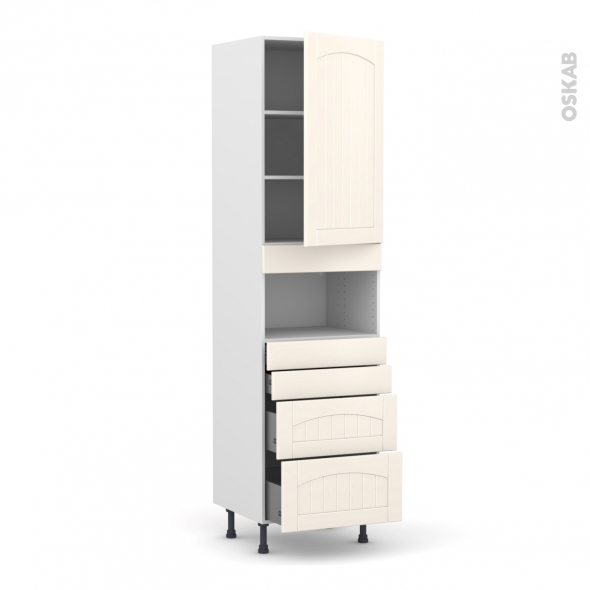 SILEN Ivoire - Colonne MO niche 36/38 N°2458  - 1 porte 4 tiroirs - L60xH217xP58 - droite