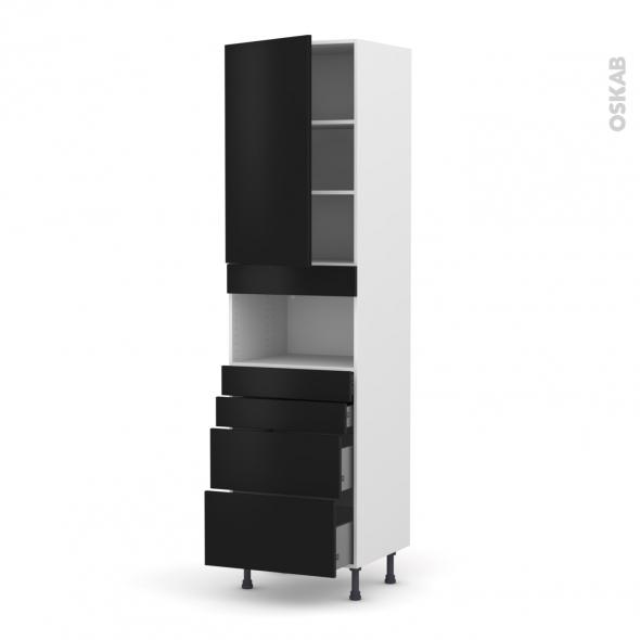 Colonne de cuisine N°2458 - MO encastrable niche 36/38 - GINKO Noir - 1 porte 4 tiroirs - L60 x H217 x P58 cm