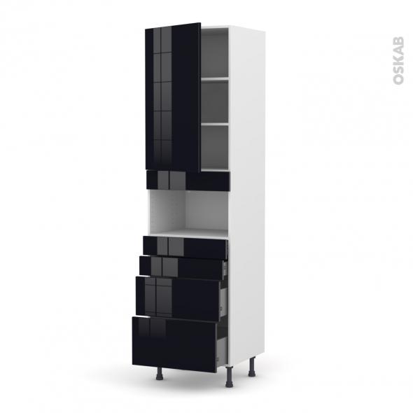 Colonne de cuisine N°2158 - MO encastrable niche 36/38 - KERIA Noir - 1 porte 4 tiroirs - L60 x H195 x P37 cm