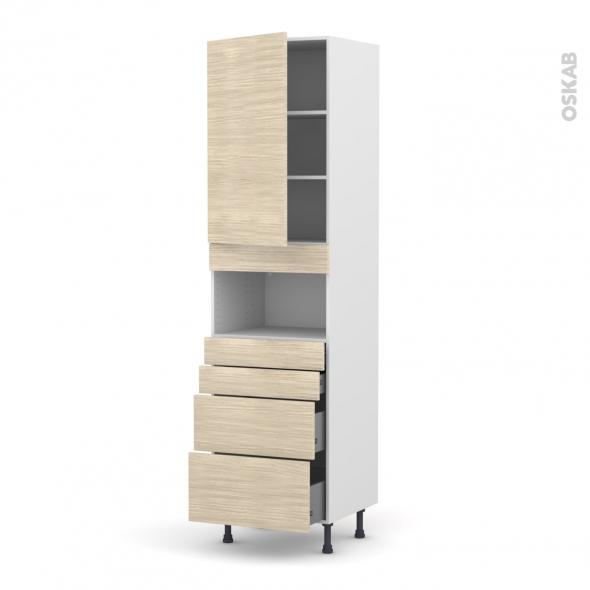 Colonne de cuisine N°2458 - MO encastrable niche 36/38 - STILO Noyer Blanchi - 1 porte 4 tiroirs - L60 x H217 x P58 cm