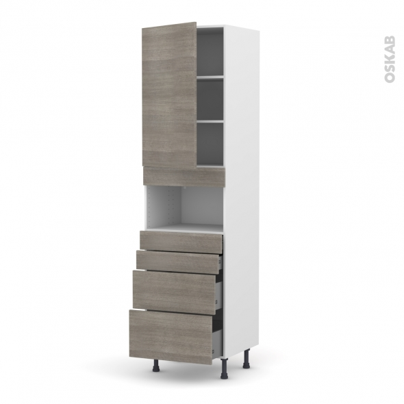 Colonne de cuisine N°2458 - MO encastrable niche 36/38 - STILO Noyer Naturel - 1 porte 4 tiroirs - L60 x H217 x P58 cm
