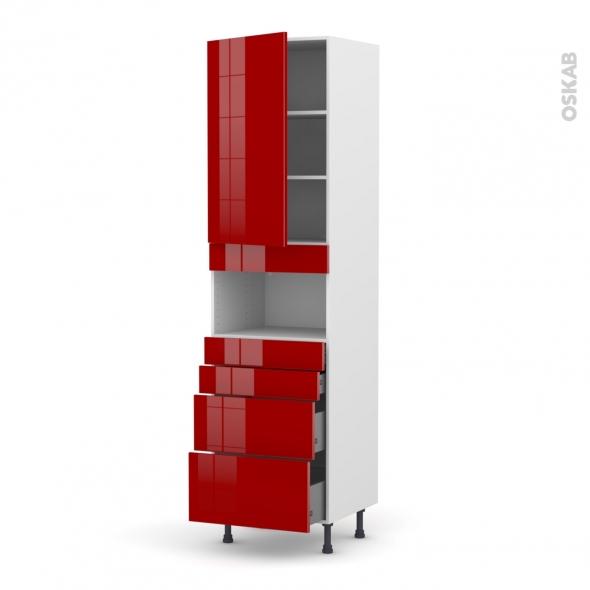 Colonne de cuisine N°2458 - MO encastrable niche 36/38 - STECIA Rouge - 1 porte 4 tiroirs - L60 x H217 x P58 cm