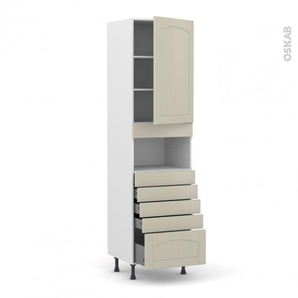 SILEN Argile - Colonne MO niche 36/38 N°2459  - 1 porte 5 tiroirs - L60xH217xP58 - droite