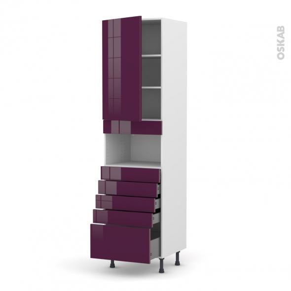 Colonne de cuisine N°2459 - MO encastrable niche 36/38 - KERIA Aubergine - 1 porte 5 tiroirs - L60 x H217 x P58 cm