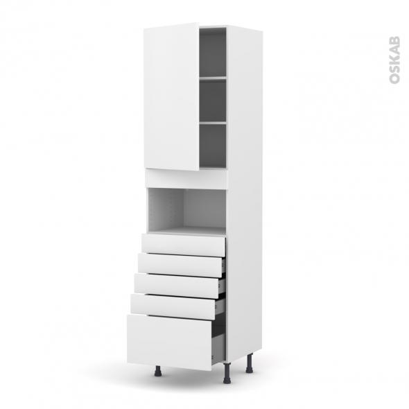GINKO Blanc - Colonne MO niche 36/38 N°2459  - 1 porte 5 tiroirs - L60xH217xP58
