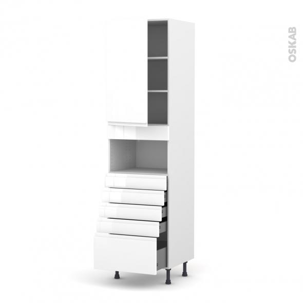 Colonne de cuisine N°2459 - MO encastrable niche 36/38 - IPOMA Blanc - 1 porte 5 tiroirs - L60 x H217 x P58 cm