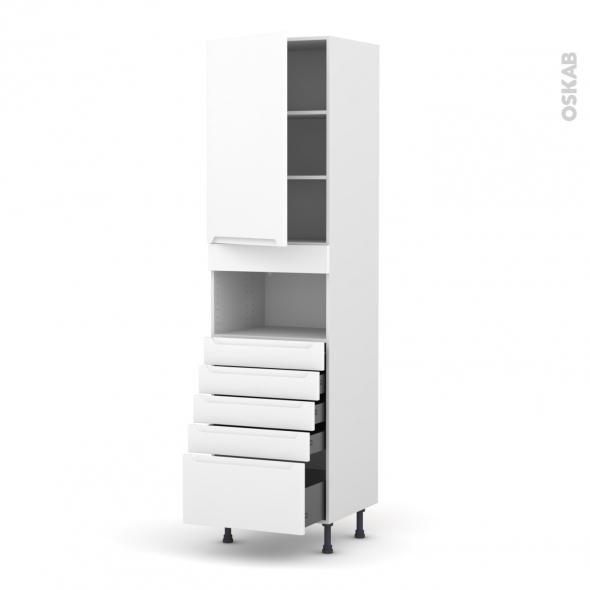 Colonne de cuisine N°2459 - MO encastrable niche 36/38 - PIMA Blanc - 1 porte 5 tiroirs - L60 x H217 x P58 cm