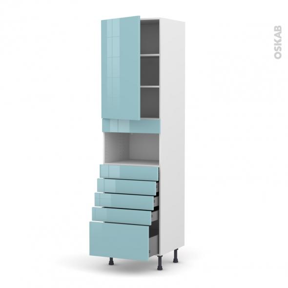 Colonne de cuisine N°2459 - MO encastrable niche 36/38 - KERIA Bleu - 1 porte 5 tiroirs - L60 x H217 x P58 cm