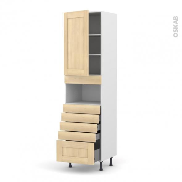 BETULA Bouleau - Colonne MO niche 36/38 N°2459  - 1 porte 5 tiroirs - L60xH217xP58